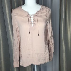 Calvin Klein Pink Lace Up Front Blouse